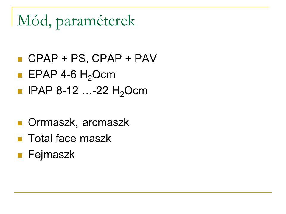 Mód, paraméterek CPAP + PS, CPAP + PAV EPAP 4-6 H2Ocm