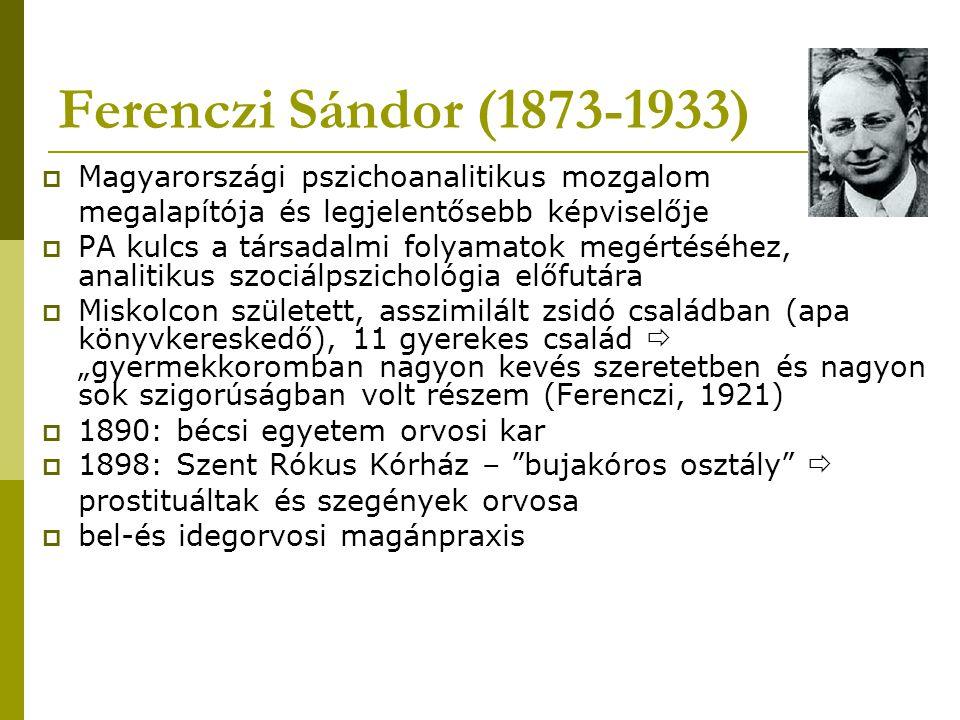 Ferenczi Sándor (1873-1933) Magyarországi pszichoanalitikus mozgalom