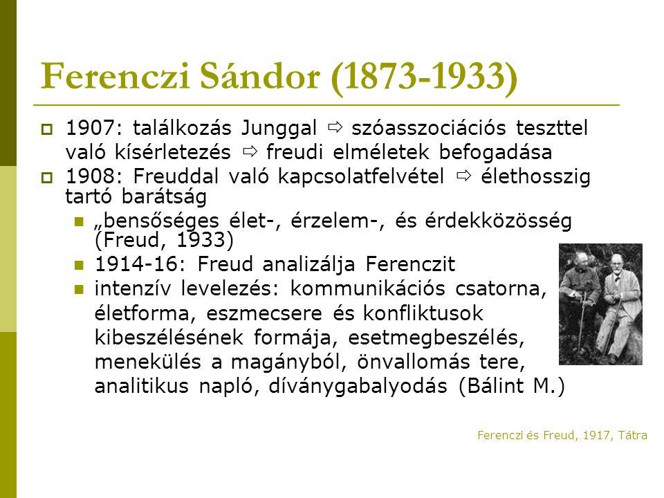 Ferenczi Sándor (1873-1933) 1907: találkozás Junggal  szóasszociációs teszttel. való kísérletezés  freudi elméletek befogadása.