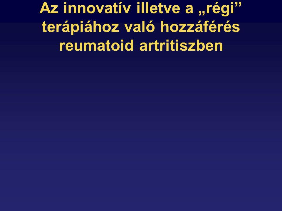 """Az innovatív illetve a """"régi terápiához való hozzáférés reumatoid artritiszben"""