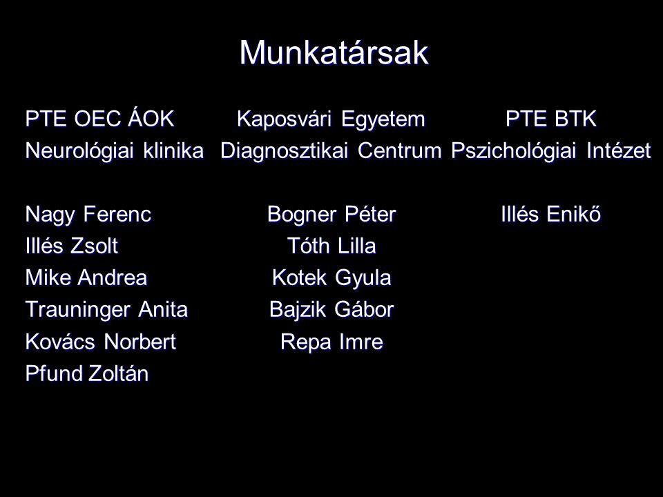 Munkatársak PTE OEC ÁOK Neurológiai klinika Nagy Ferenc Illés Zsolt