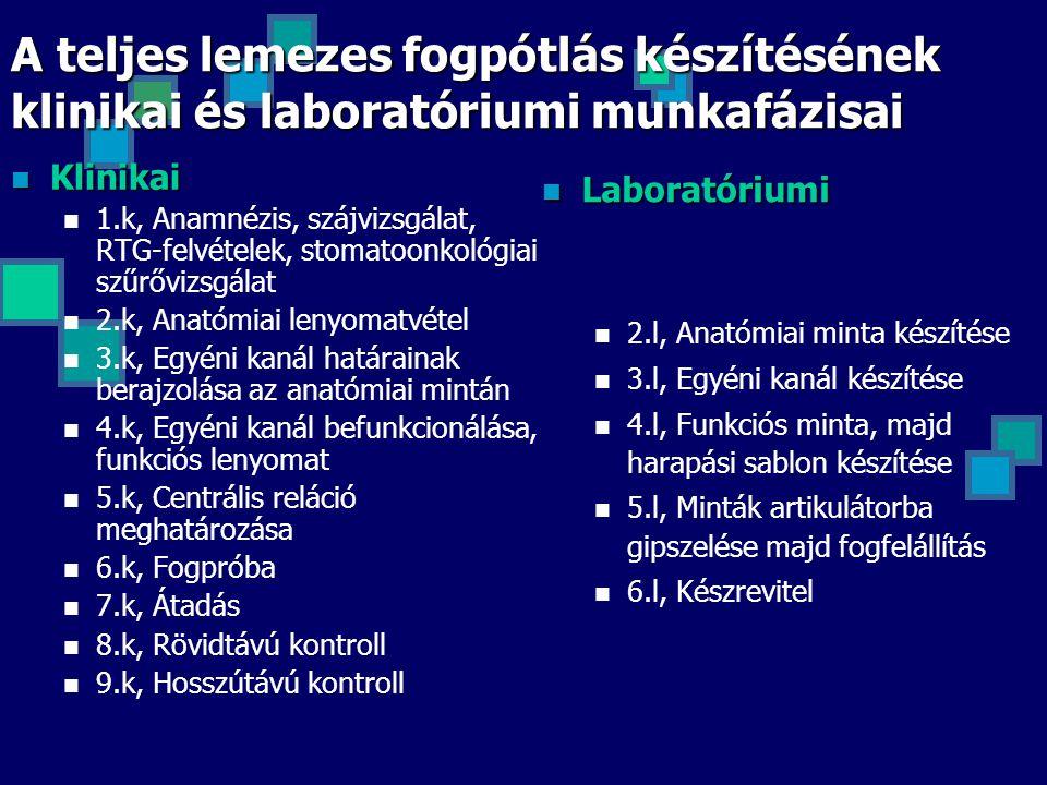 A teljes lemezes fogpótlás készítésének klinikai és laboratóriumi munkafázisai