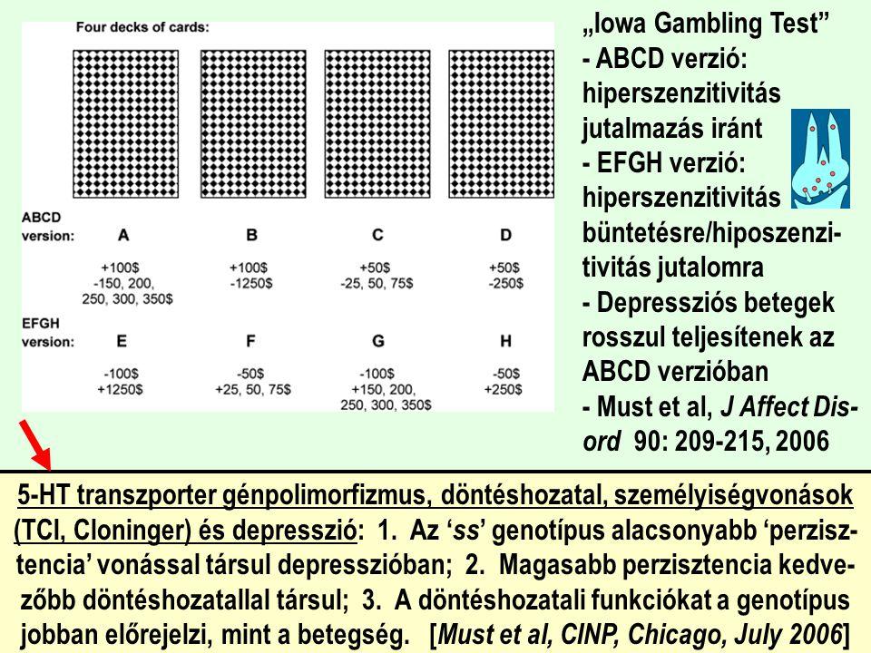 """""""Iowa Gambling Test - ABCD verzió: hiperszenzitivitás jutalmazás iránt - EFGH verzió: hiperszenzitivitás büntetésre/hiposzenzi-tivitás jutalomra - Depressziós betegek rosszul teljesítenek az ABCD verzióban - Must et al, J Affect Dis-ord 90: 209-215, 2006"""
