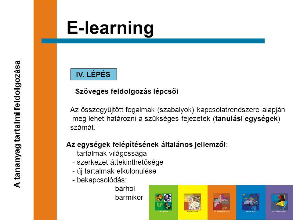 E-learning A tananyag tartalmi feldolgozása IV. LÉPÉS