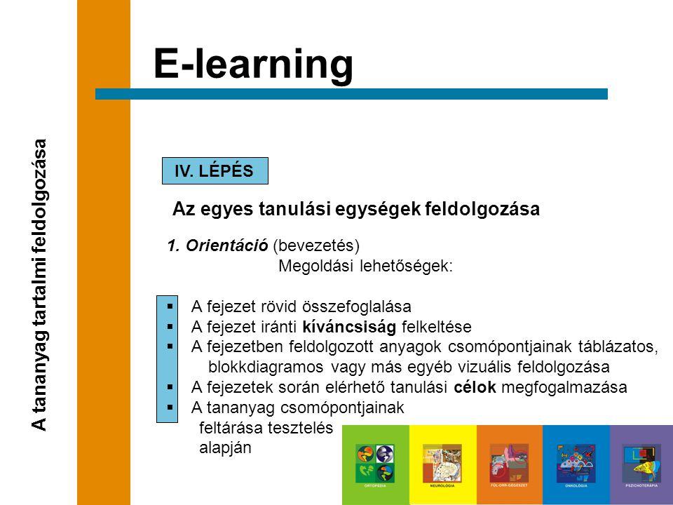E-learning A tananyag tartalmi feldolgozása