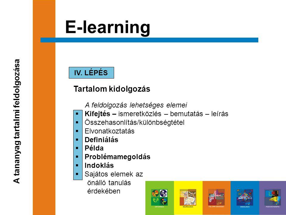 E-learning A tananyag tartalmi feldolgozása Tartalom kidolgozás