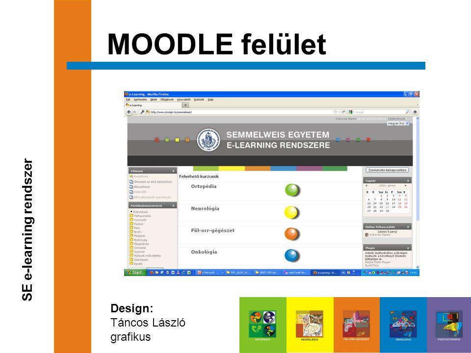 MOODLE felület SE e-learning rendszer Design: Táncos László grafikus