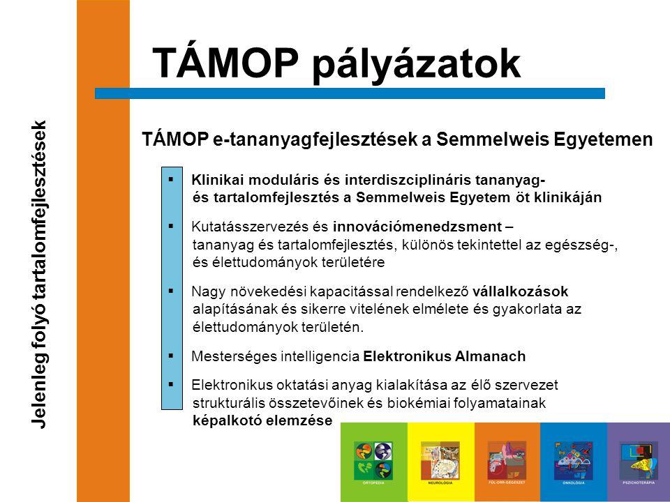 TÁMOP pályázatok TÁMOP e-tananyagfejlesztések a Semmelweis Egyetemen