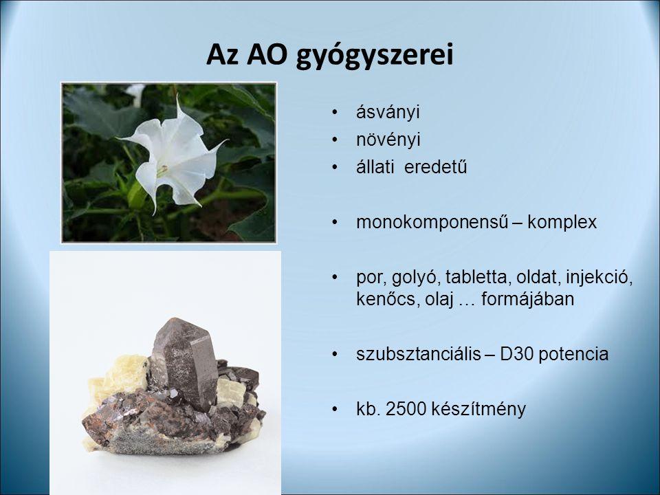 Az AO gyógyszerei ásványi növényi állati eredetű