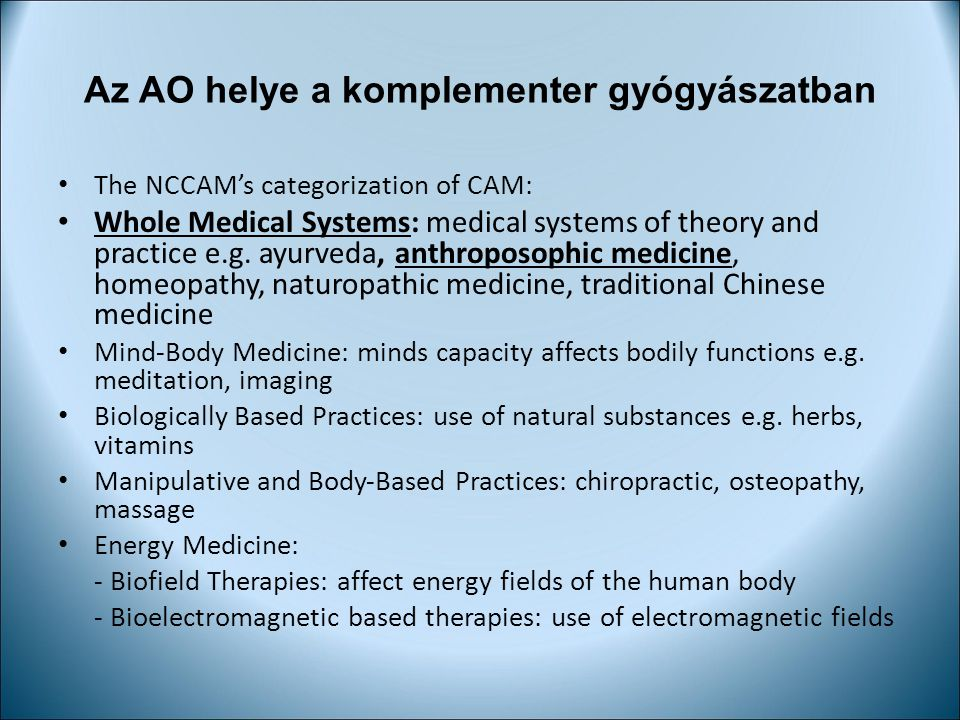 Az AO helye a komplementer gyógyászatban