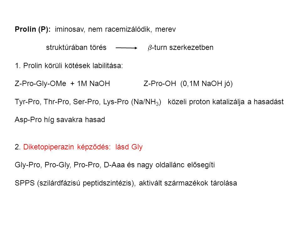 Prolin (P): iminosav, nem racemizálódik, merev