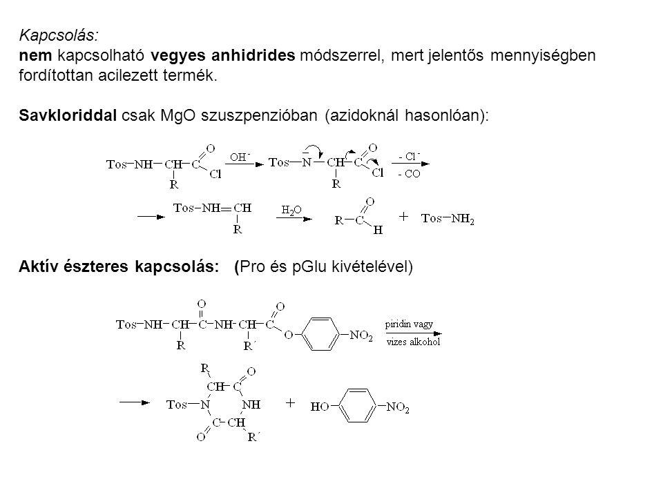 Kapcsolás: nem kapcsolható vegyes anhidrides módszerrel, mert jelentős mennyiségben. fordítottan acilezett termék.