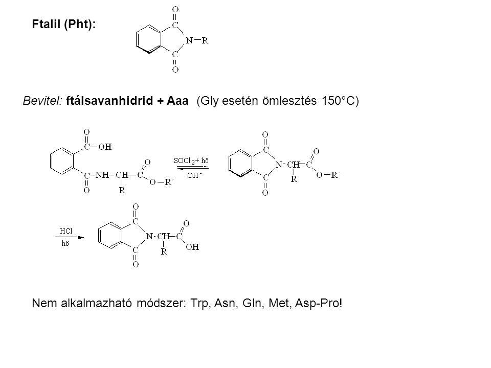 Ftalil (Pht): Bevitel: ftálsavanhidrid + Aaa (Gly esetén ömlesztés 150°C) Nem alkalmazható módszer: Trp, Asn, Gln, Met, Asp-Pro!