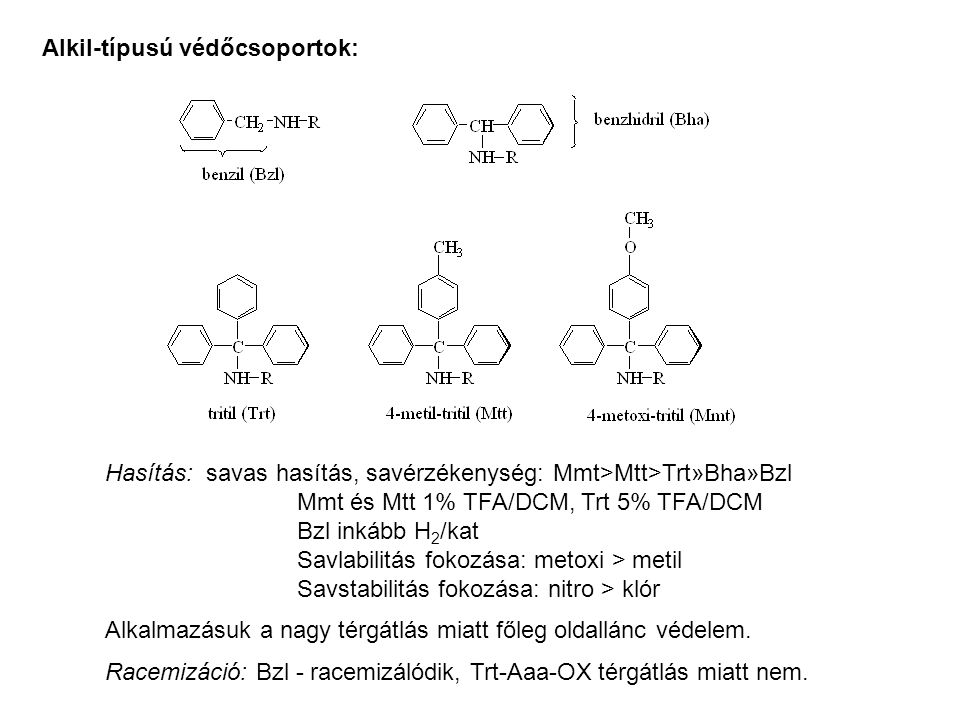 Alkil-típusú védőcsoportok: