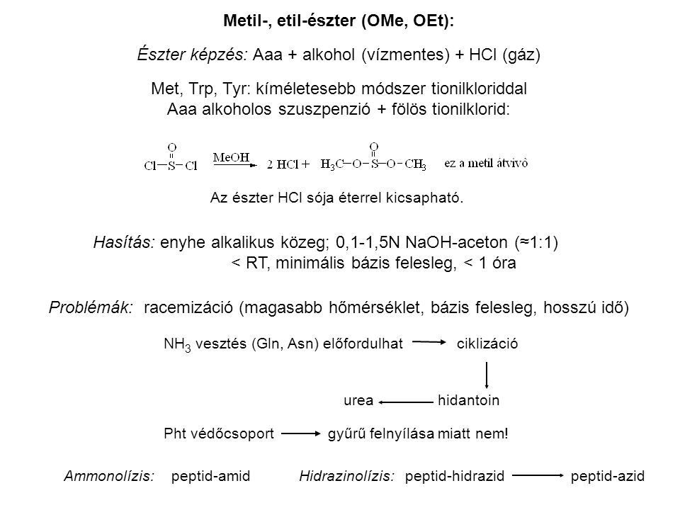 Metil-, etil-észter (OMe, OEt):
