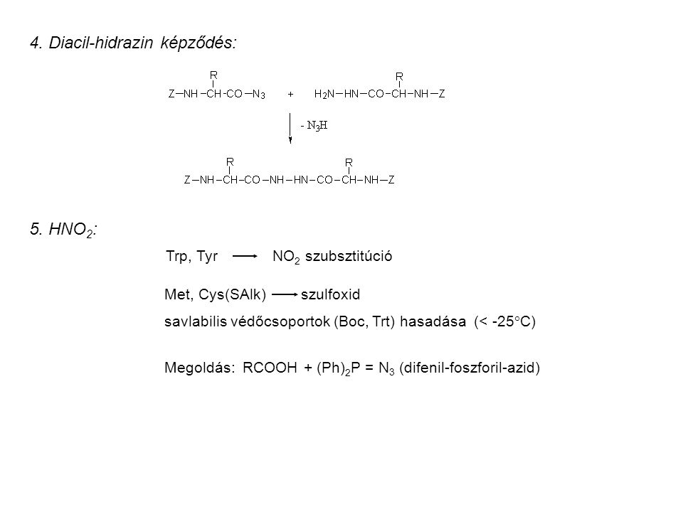 4. Diacil-hidrazin képződés: