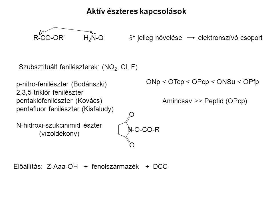 .. Aktív észteres kapcsolások d+ R-CO-OR H2N-Q