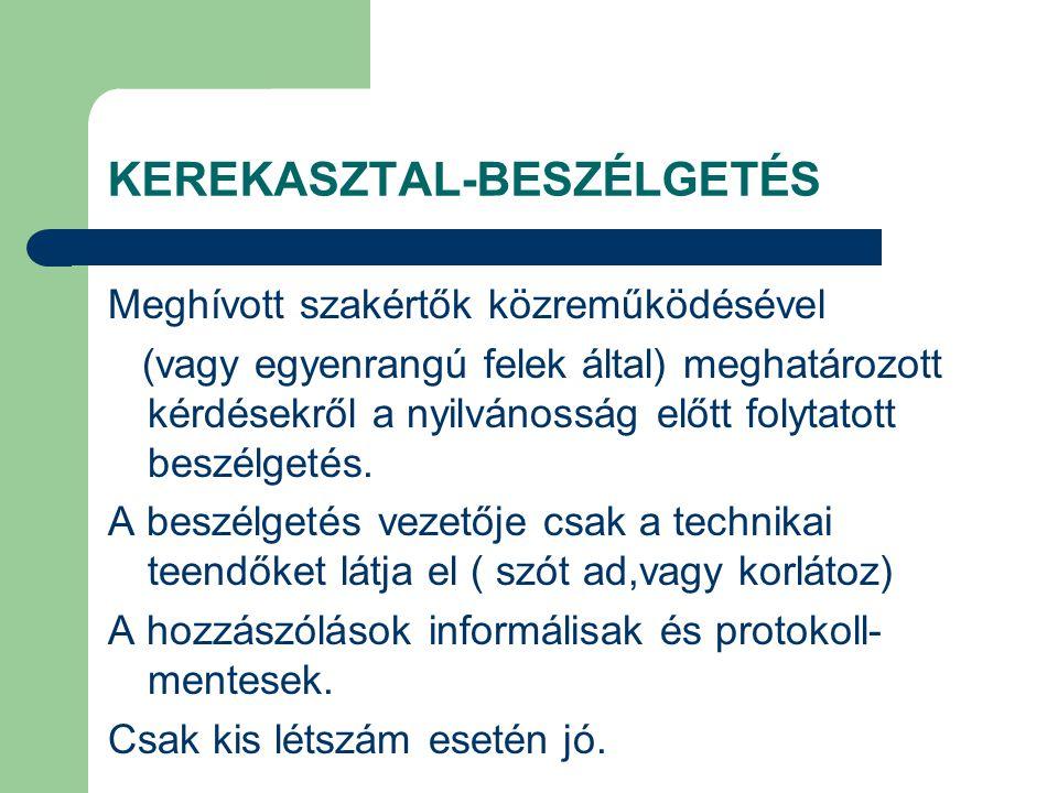 KEREKASZTAL-BESZÉLGETÉS