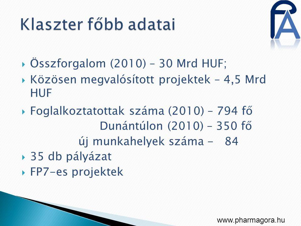 Klaszter főbb adatai Összforgalom (2010) – 30 Mrd HUF;