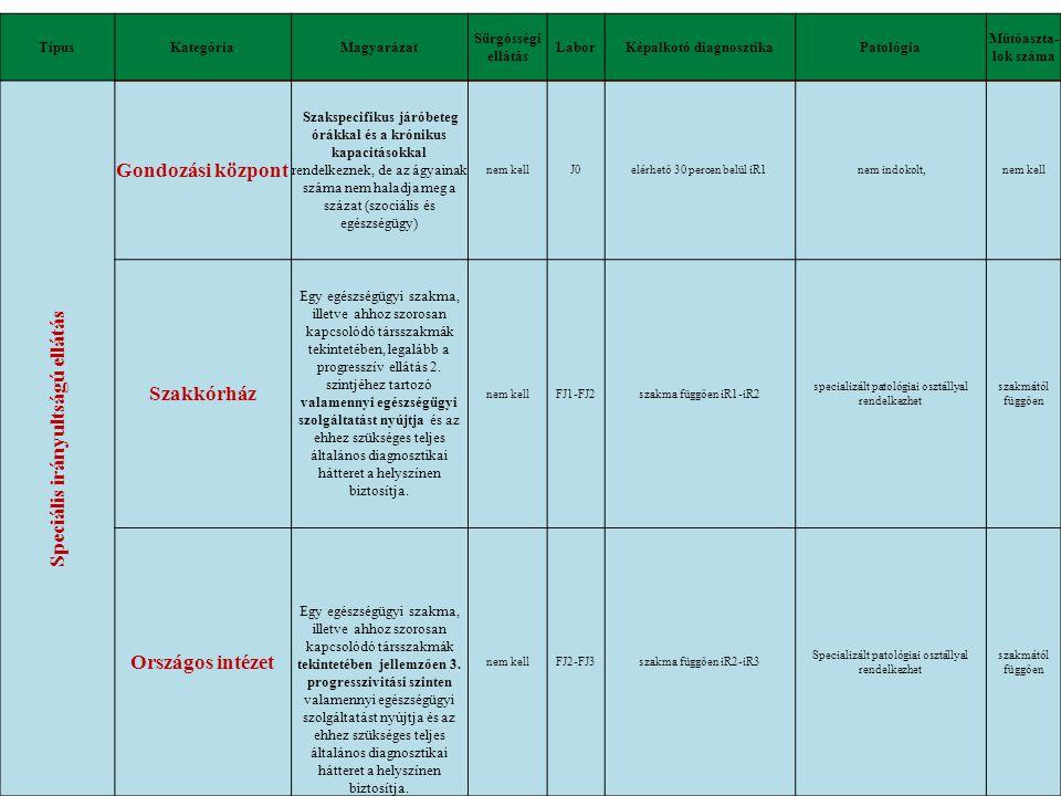 Képalkotó diagnosztika Speciális irányultságú ellátás