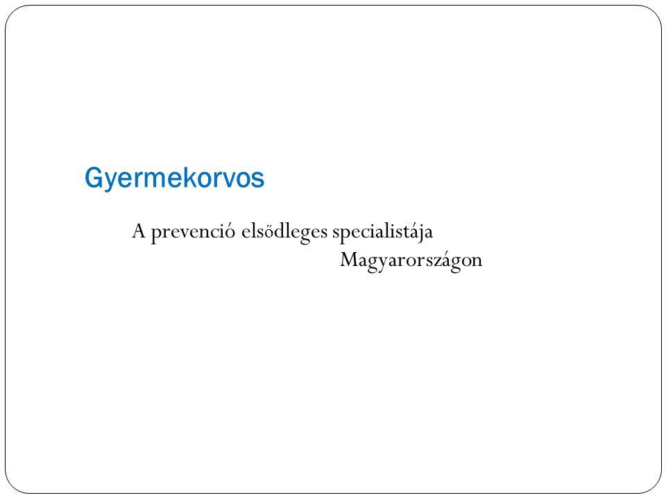 Gyermekorvos A prevenció elsődleges specialistája Magyarországon