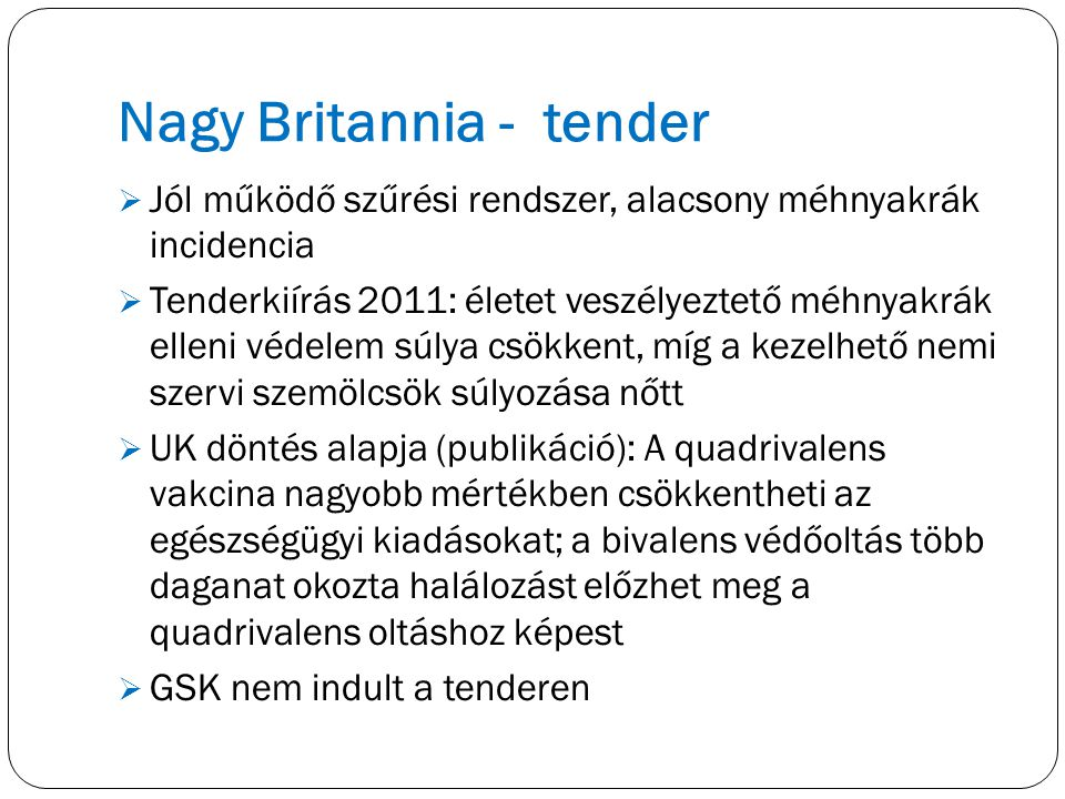 Nagy Britannia - tender
