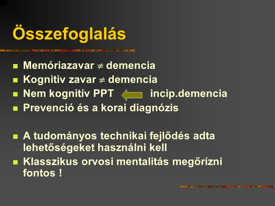 Összefoglalás Memóriazavar  demencia Kognitiv zavar  demencia