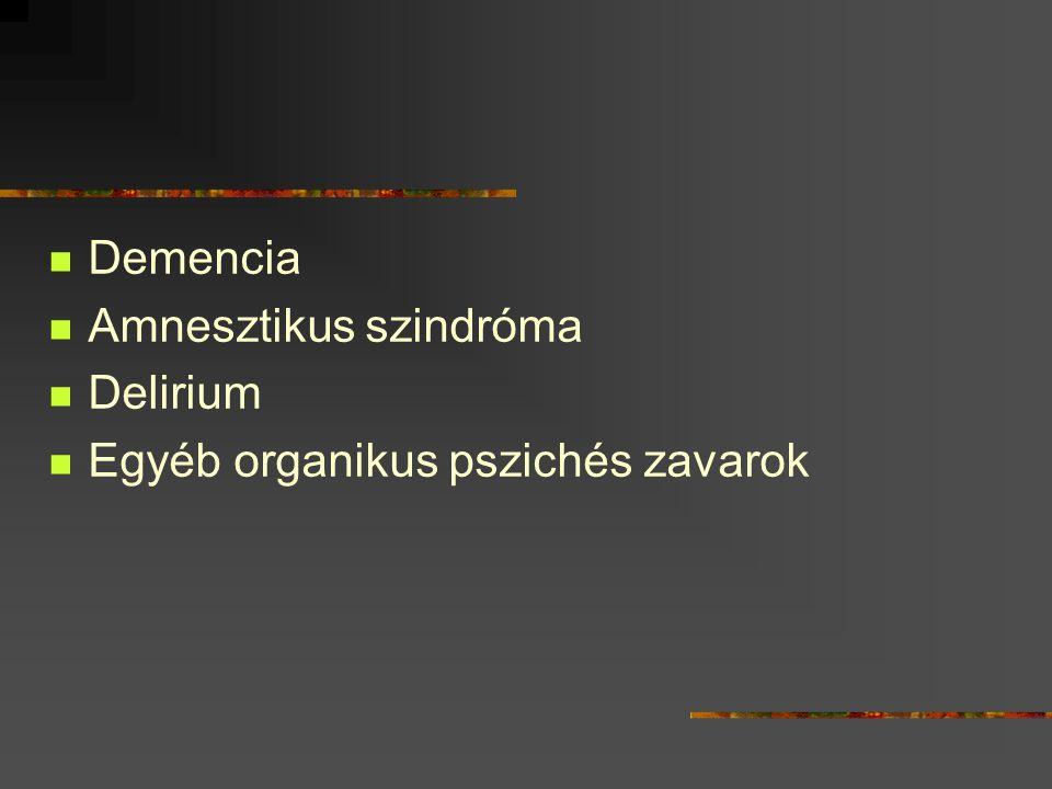 Demencia Amnesztikus szindróma Delirium Egyéb organikus pszichés zavarok