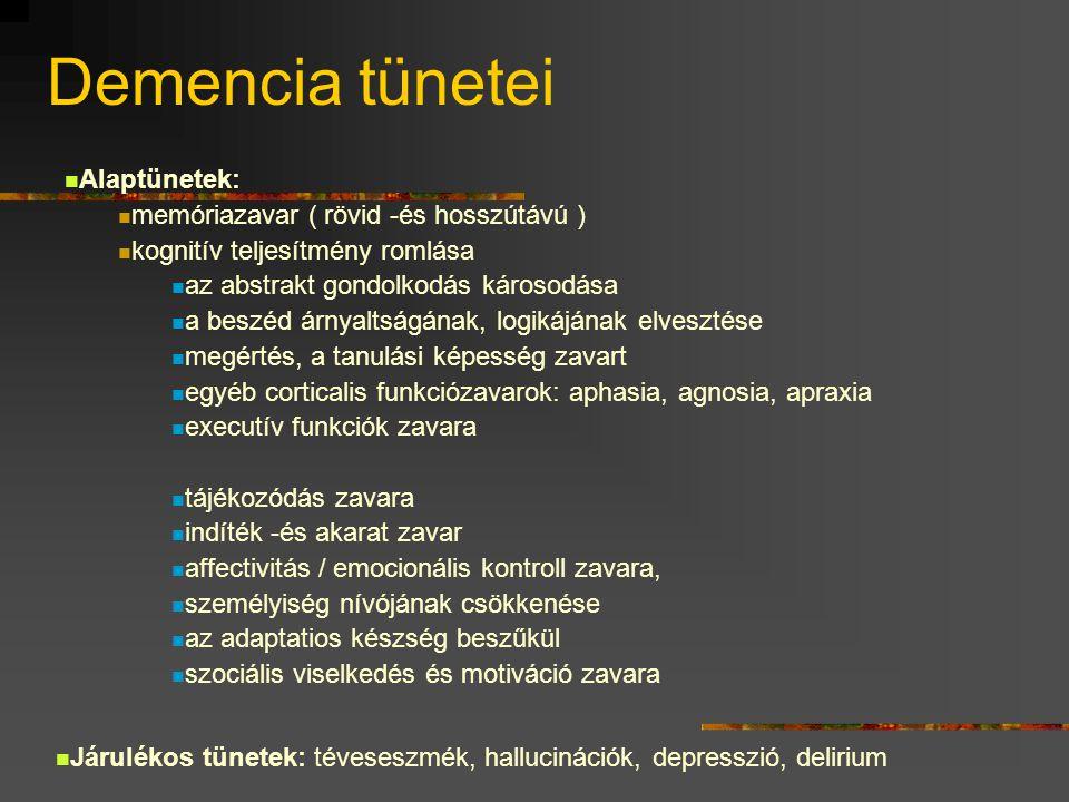 Demencia tünetei Alaptünetek: memóriazavar ( rövid -és hosszútávú )
