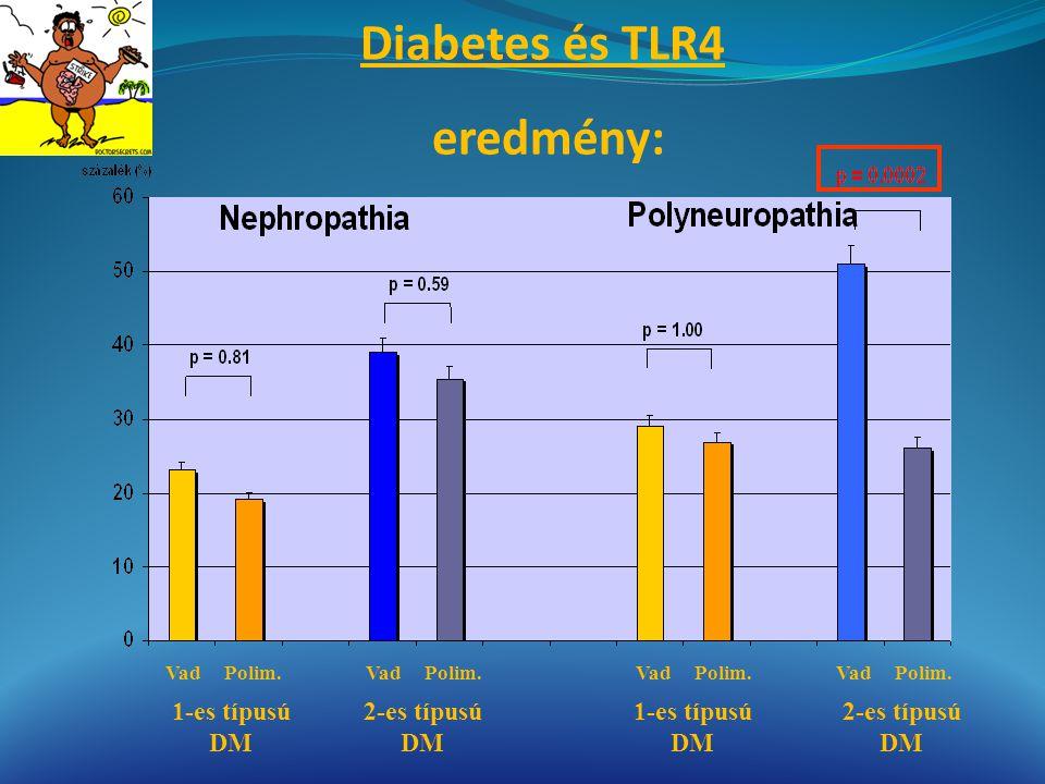 Diabetes és TLR4 eredmény: 1-es típusú DM 2-es típusú DM