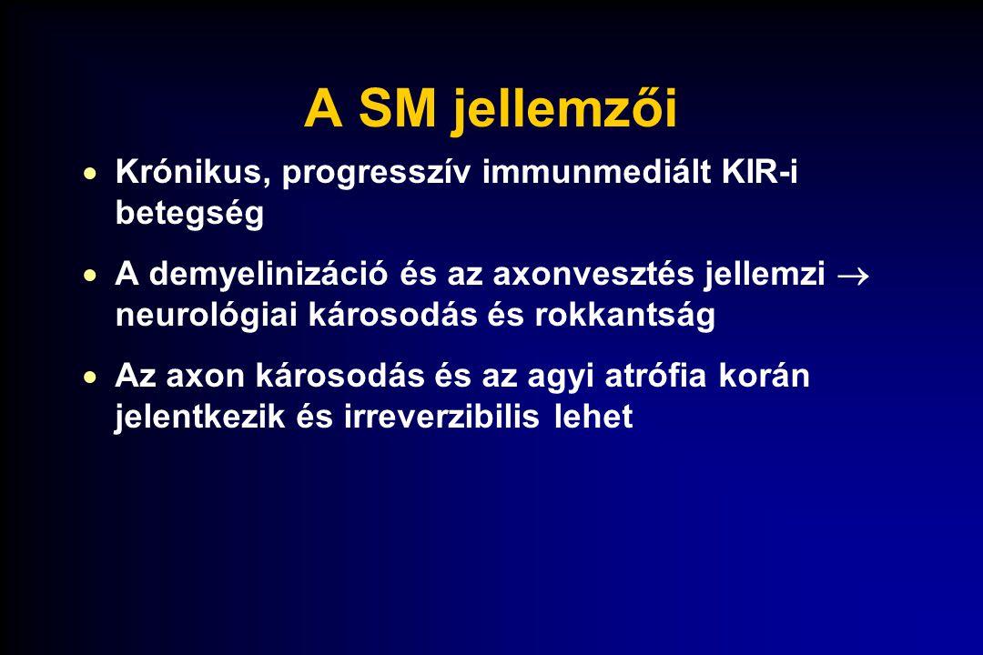 A SM jellemzői Krónikus, progresszív immunmediált KIR-i betegség