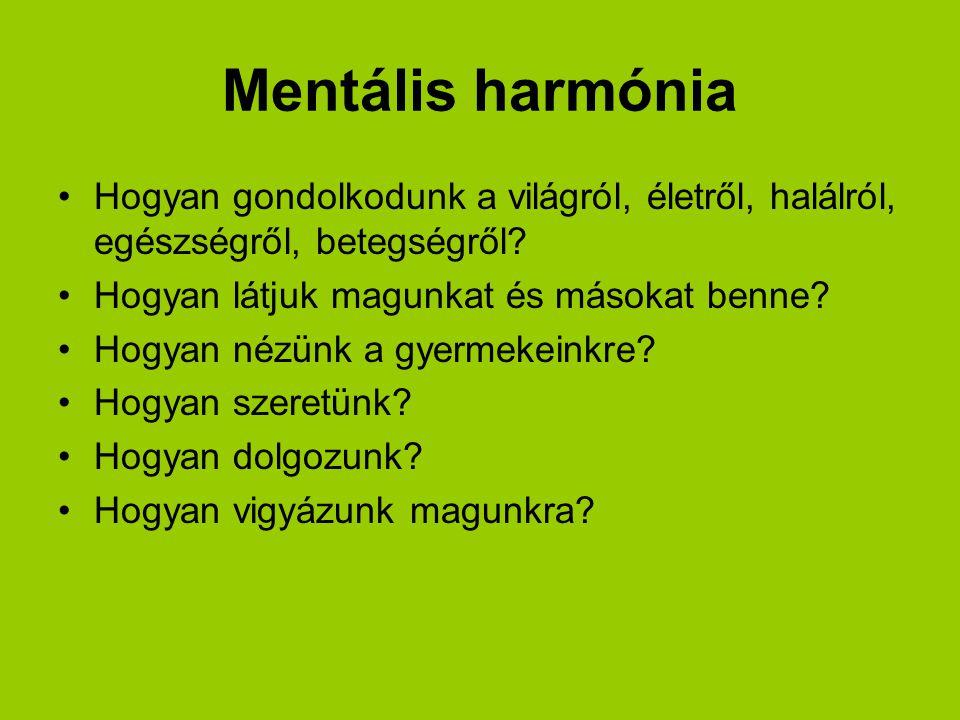 Mentális harmónia Hogyan gondolkodunk a világról, életről, halálról, egészségről, betegségről Hogyan látjuk magunkat és másokat benne