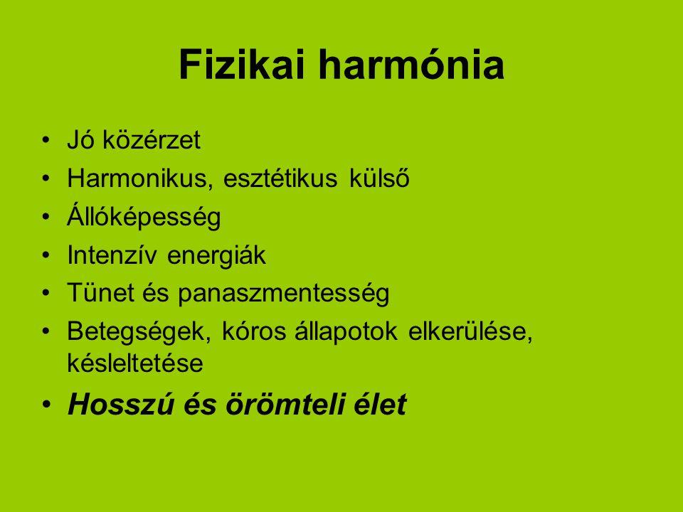 Fizikai harmónia Hosszú és örömteli élet Jó közérzet
