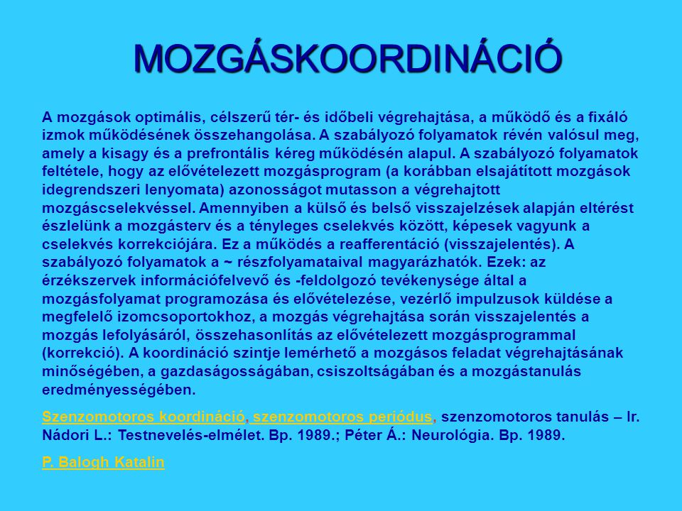 MOZGÁSKOORDINÁCIÓ