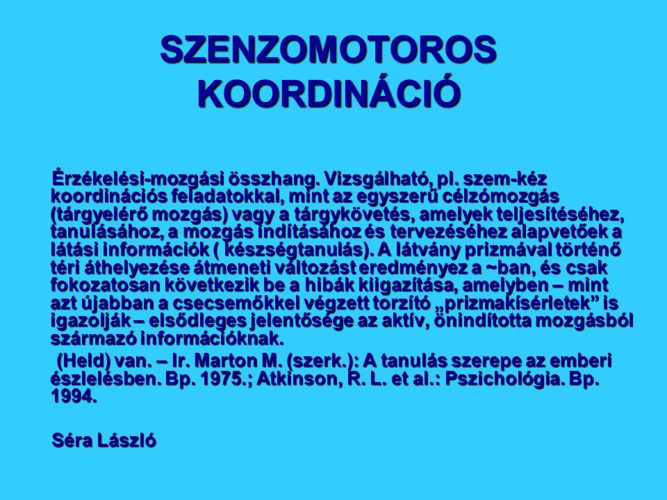 SZENZOMOTOROS KOORDINÁCIÓ