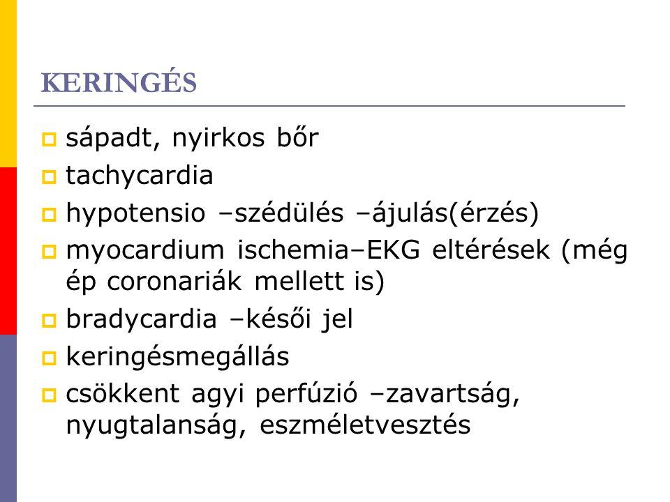 KERINGÉS sápadt, nyirkos bőr tachycardia