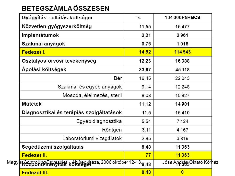 BETEGSZÁMLA ÖSSZESEN Gyógyítás - ellátás költségei