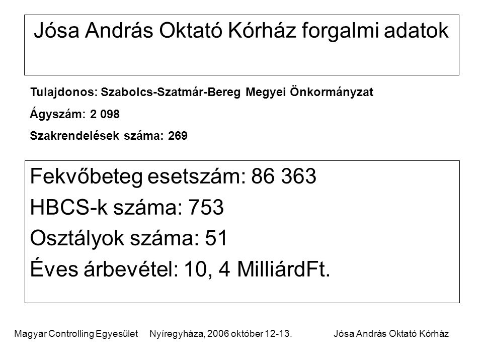 Jósa András Oktató Kórház forgalmi adatok