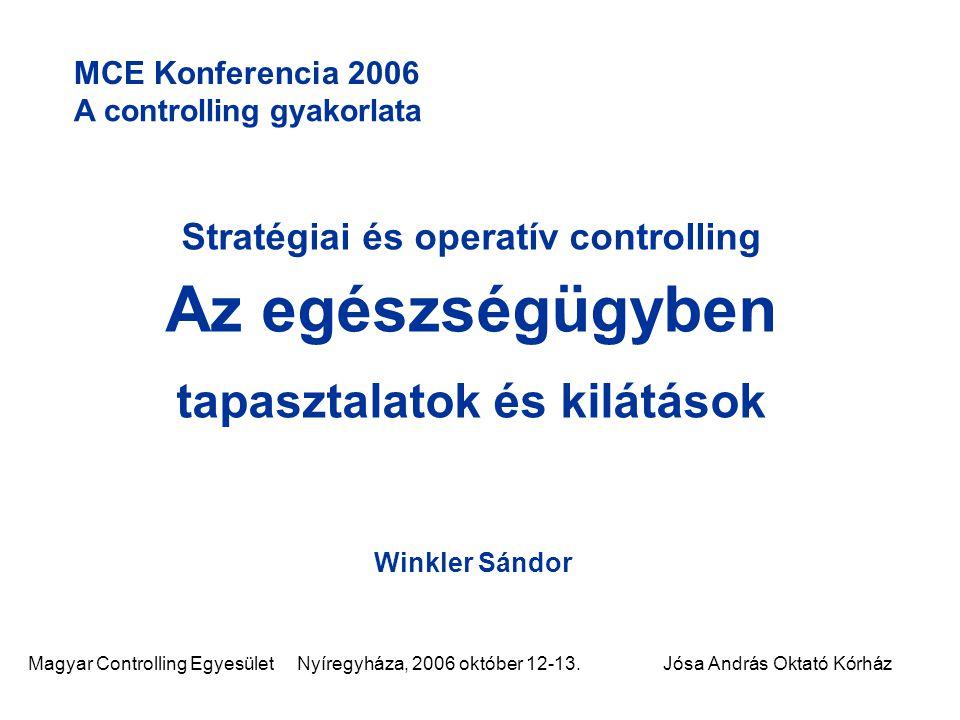 Stratégiai és operatív controlling tapasztalatok és kilátások