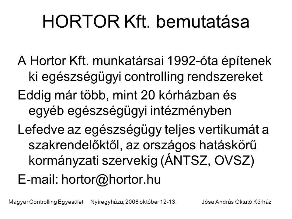 HORTOR Kft. bemutatása A Hortor Kft. munkatársai 1992-óta építenek ki egészségügyi controlling rendszereket.