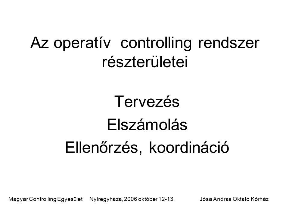 Az operatív controlling rendszer részterületei