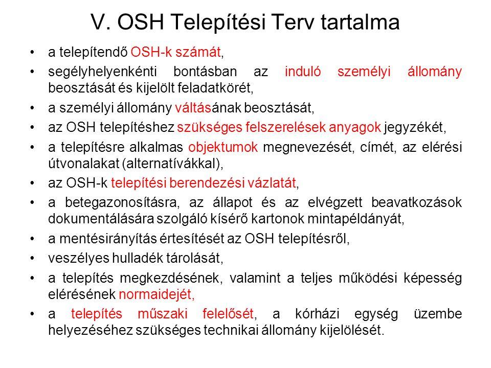 V. OSH Telepítési Terv tartalma