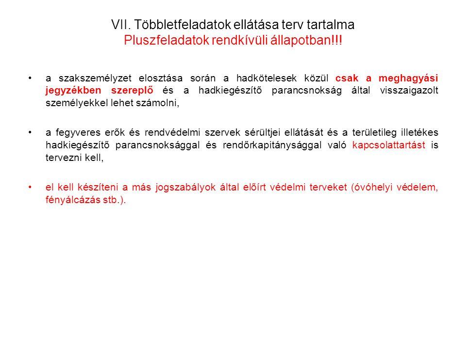 VII. Többletfeladatok ellátása terv tartalma Pluszfeladatok rendkívüli állapotban!!!