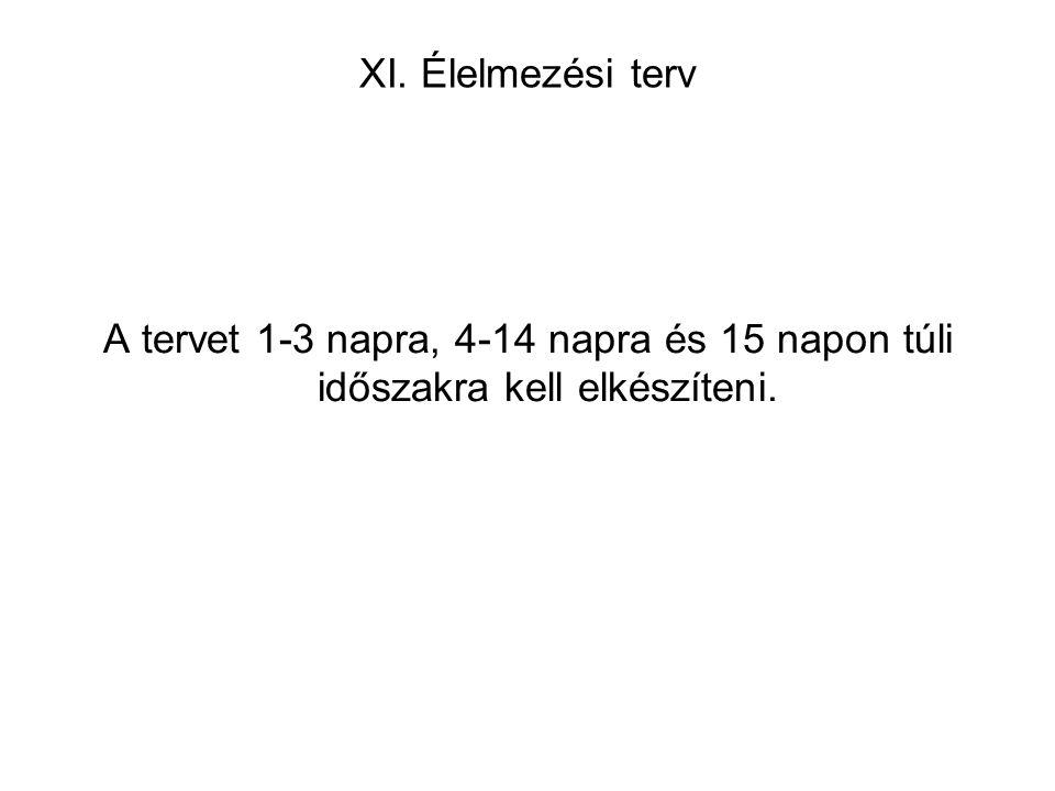 XI. Élelmezési terv A tervet 1-3 napra, 4-14 napra és 15 napon túli időszakra kell elkészíteni.