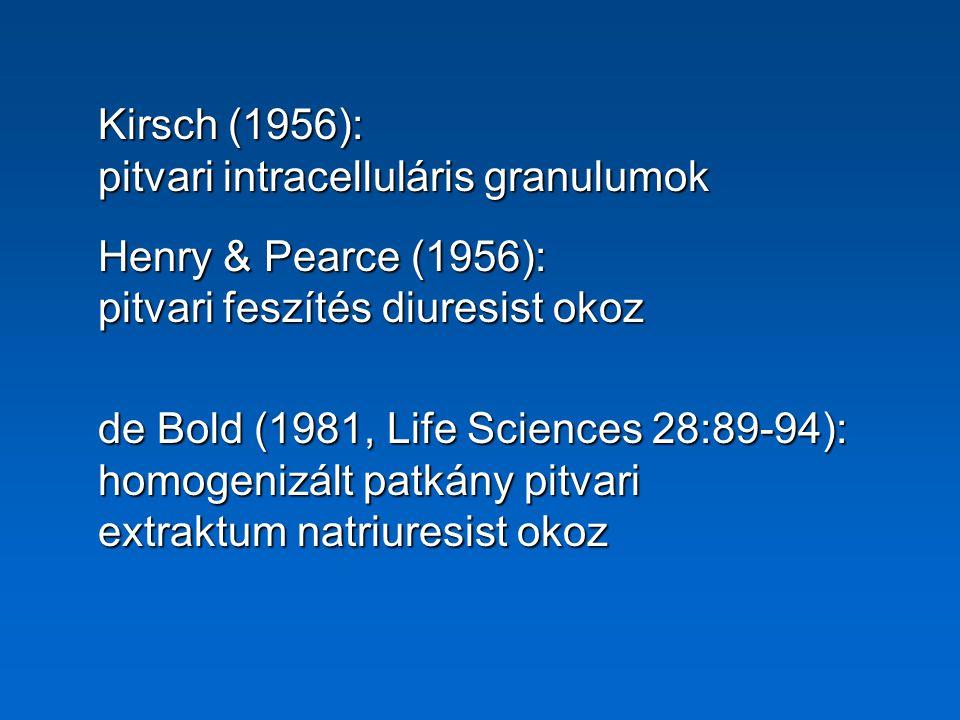 Kirsch (1956): pitvari intracelluláris granulumok. Henry & Pearce (1956): pitvari feszítés diuresist okoz.