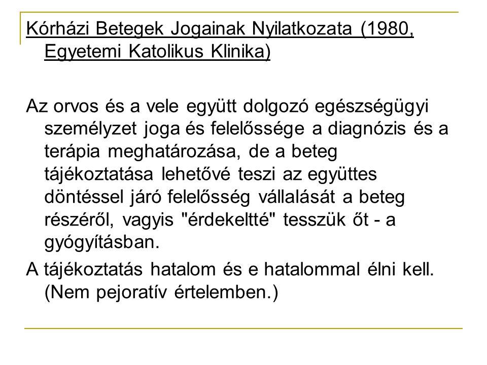 Kórházi Betegek Jogainak Nyilatkozata (1980, Egyetemi Katolikus Klinika)