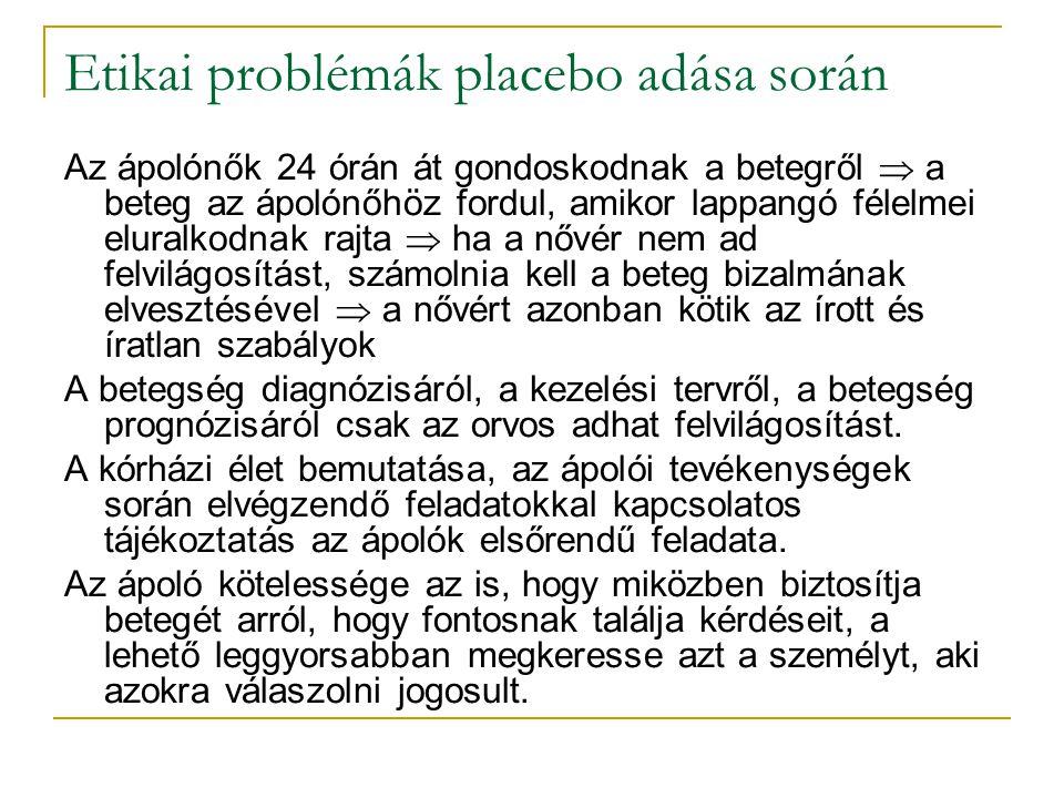 Etikai problémák placebo adása során