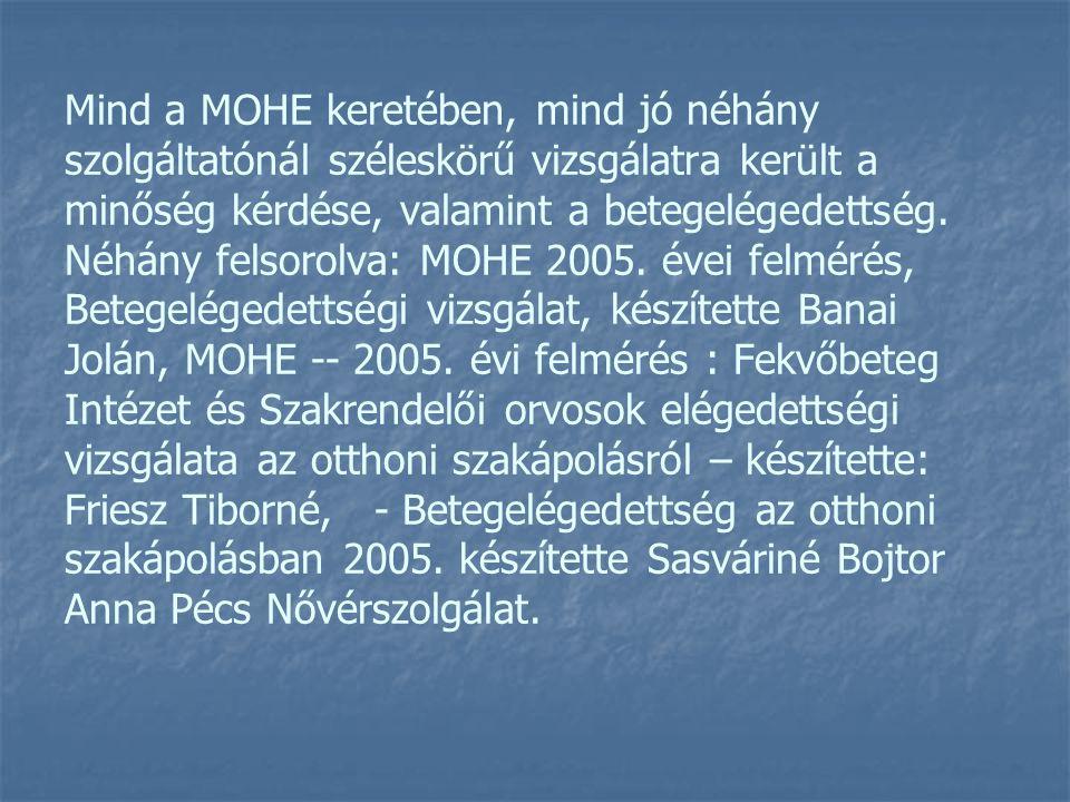 Mind a MOHE keretében, mind jó néhány szolgáltatónál széleskörű vizsgálatra került a minőség kérdése, valamint a betegelégedettség.