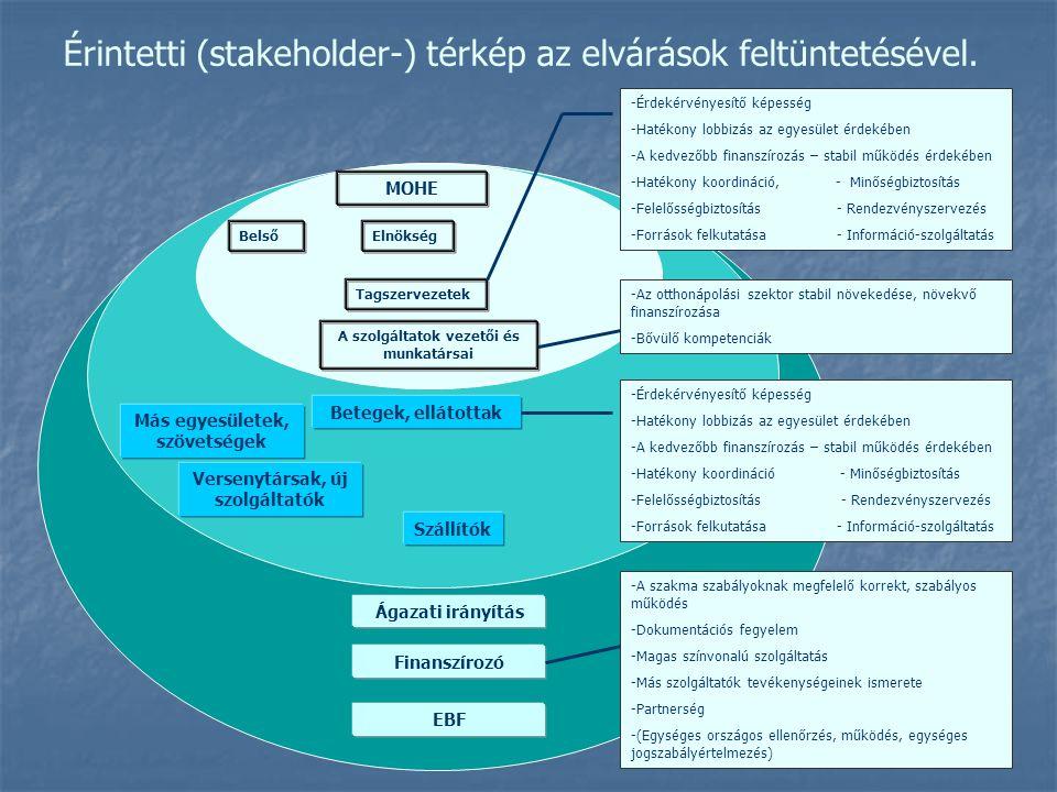 Érintetti (stakeholder-) térkép az elvárások feltüntetésével.