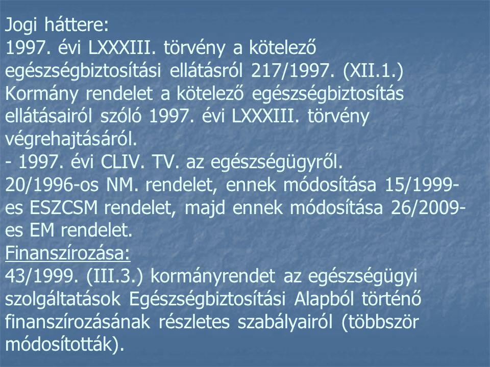 Jogi háttere: 1997. évi LXXXIII